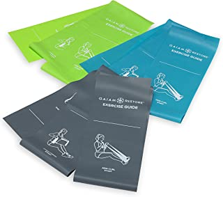Gaiam Restore Resistance Band Strength & Flexibility Kit with Self-Guided Exercise Illustrations Printed on Bands
