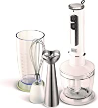Black+Decker 400W 4 in 1 Stainless Steel Stem Hand Blender with Chopper and Whisk, White - SB4000-B5, 2 Years Warranty