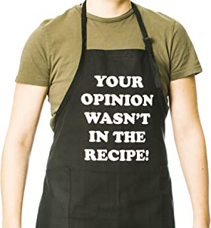 Funny Guy Mugs Your Opinion Wasn't In The Recipe Adjustable Apron with Pockets - Funny Apron for Men and Women - Perfect For Kitchen BBQ Grilling Barbecue Cooking Baking Crafting Gardening