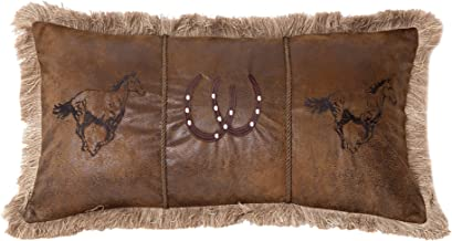 Carstens, Inc Running Horses Faux Leather Decorative Pillow, 14 x 26, Multicolor