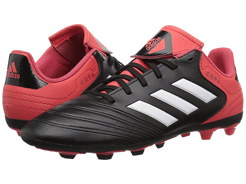 adidas Kids Copa 18.4 FG (Little Kid/Big Kid) (Black/White/Real Coral) Kids Shoes