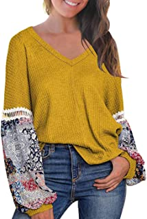 DREAGAL Women's Waffle Knit Long Sleeve Blouse Top Casual Loose Pullover Sweater