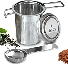 Tea Infuser - Stainless Steel + Tea Scoop Spoon – Easy to Use - Brew in Standard to Large Mugs, Extra Fine Mesh Strainer to Filter Loose Leaf Tea – Long Cool Touch Handle