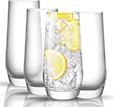 JoyJolt Gwen Highball Glasses Set of 4 Tall Drinking Glasses. 18oz Cocktail Glass Set. Lead-Free Crystal Glassware. Bourbo...