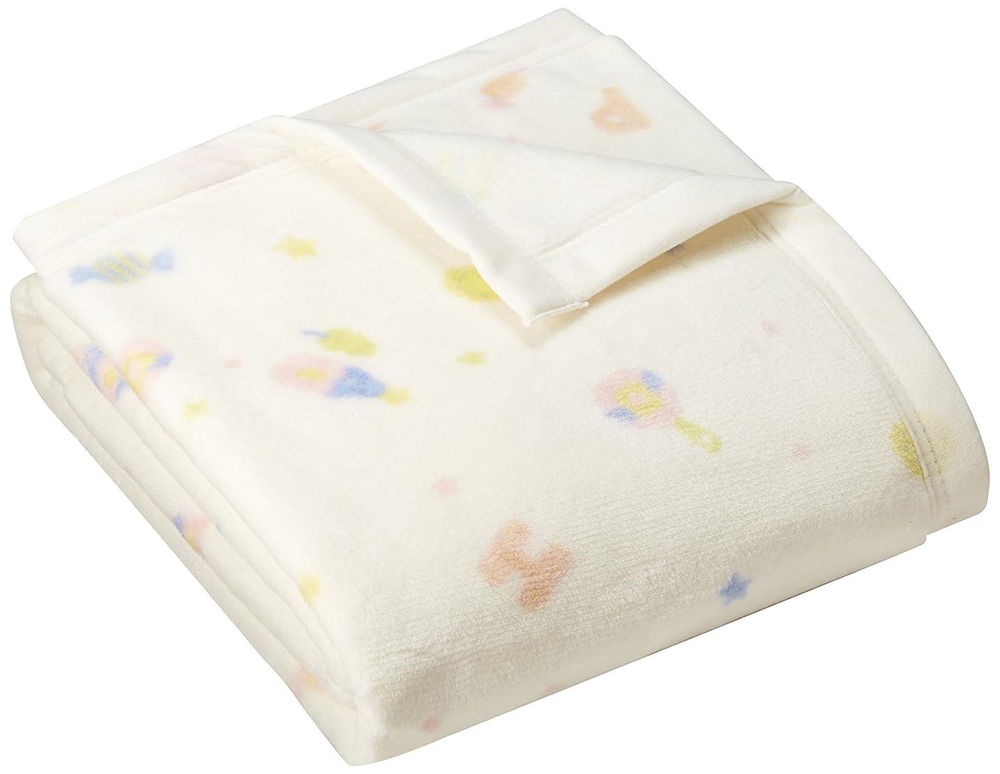 北へ夜明け汚れる京都西川 Kyoto-nishikawa RoseBaby マイヤー織り 綿毛布 (毛羽部分) おもちゃ柄 日本製 洗える クリーム 85×115cm