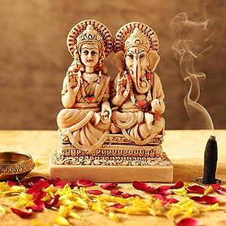TIED RIBBONS Laxmi Ganesh Statue Sculpture Idol Hindu God Murti for Puja Mandir Temple Desktop Table Lakshmi Ganesh Statue...