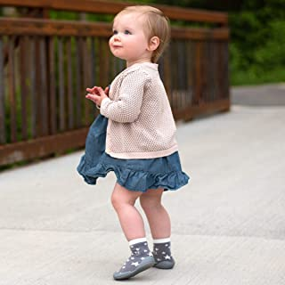Nuby Snekz Comfortable Rubber Sole Sock Shoes for First Steps- Grey Stars/Small 7-14 Months