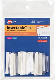 "Avery(R) Precut Self-Adhesive Insertable Index Tabs, 2"", Clear, Pack Of 25"