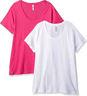 Clementine Apparel Women's Plus Ladies Curvy Premium Crew-Neck T-Shirt (2 Pack)
