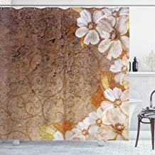 Ambesonne Grunge Home Decor Collection, Flowers and Leaves Pattern on Cracked Wall with Floral Lines Classic Deco, Polyester Fabric Bathroom Shower Curtain Set with Hooks, Brown Gold White