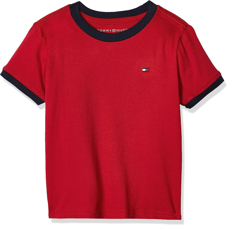 Tommy Hilfiger Boys' Little Short Sleeve Ken, 100% Cotton Jersey, Solid Color with Embroidered Logo, V-Neck & Crewneck Ringer T-Shirt Styles, Regal Red, 6 Regular