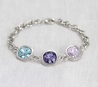 Mothers Jewelry, Personalized Grandma Bracelet with Children's Birthstones, Silver Custom Family Keepsake, Grandmother Gift