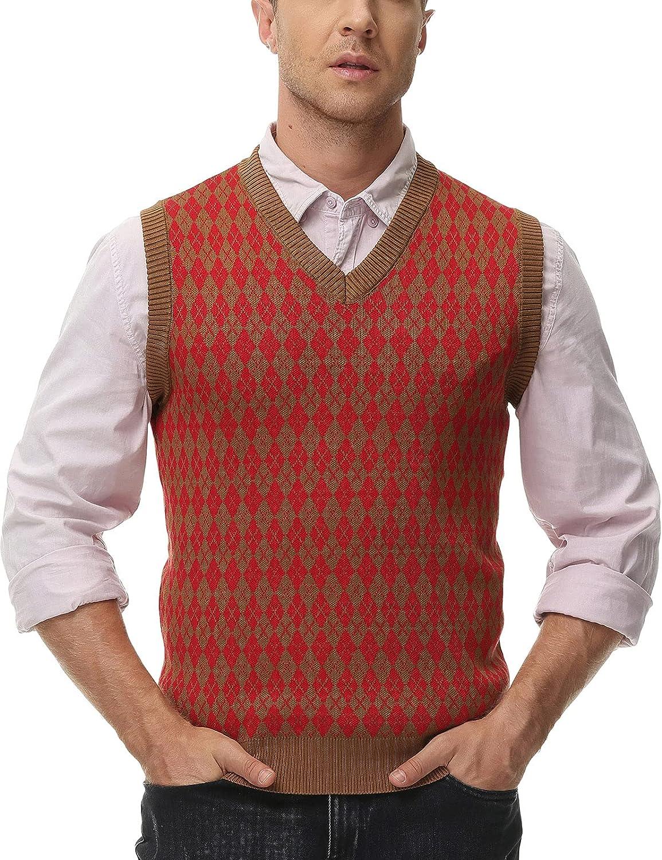 1920s Style Mens Vests PJ PAUL JONES Mens Casual Argyle Sweater Vest V-Neck Sleeveless Pullover Vest  AT vintagedancer.com