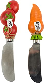 The Boston Warehouse Set of 2 Wide Stainless Steel Blade Spreaders with Hand-Painted Handle, Victory Garden Carrot & Tomato