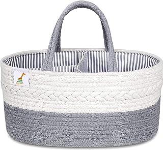 Atfal Baby Diaper Caddy Organizer Stylish Rope Nursery Storage Bin Portable Tote Car Travel Bag Essentials Nappy Basket fo...