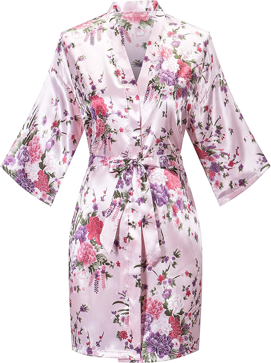 Super Special SALE held Women's Floral satin Robe Bridal Short Bridesmaids Max 66% OFF Gown Dressing