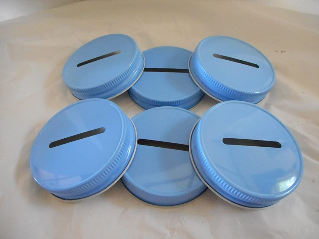 Metal Mason Jar Coin Lid Blue 6 Pack