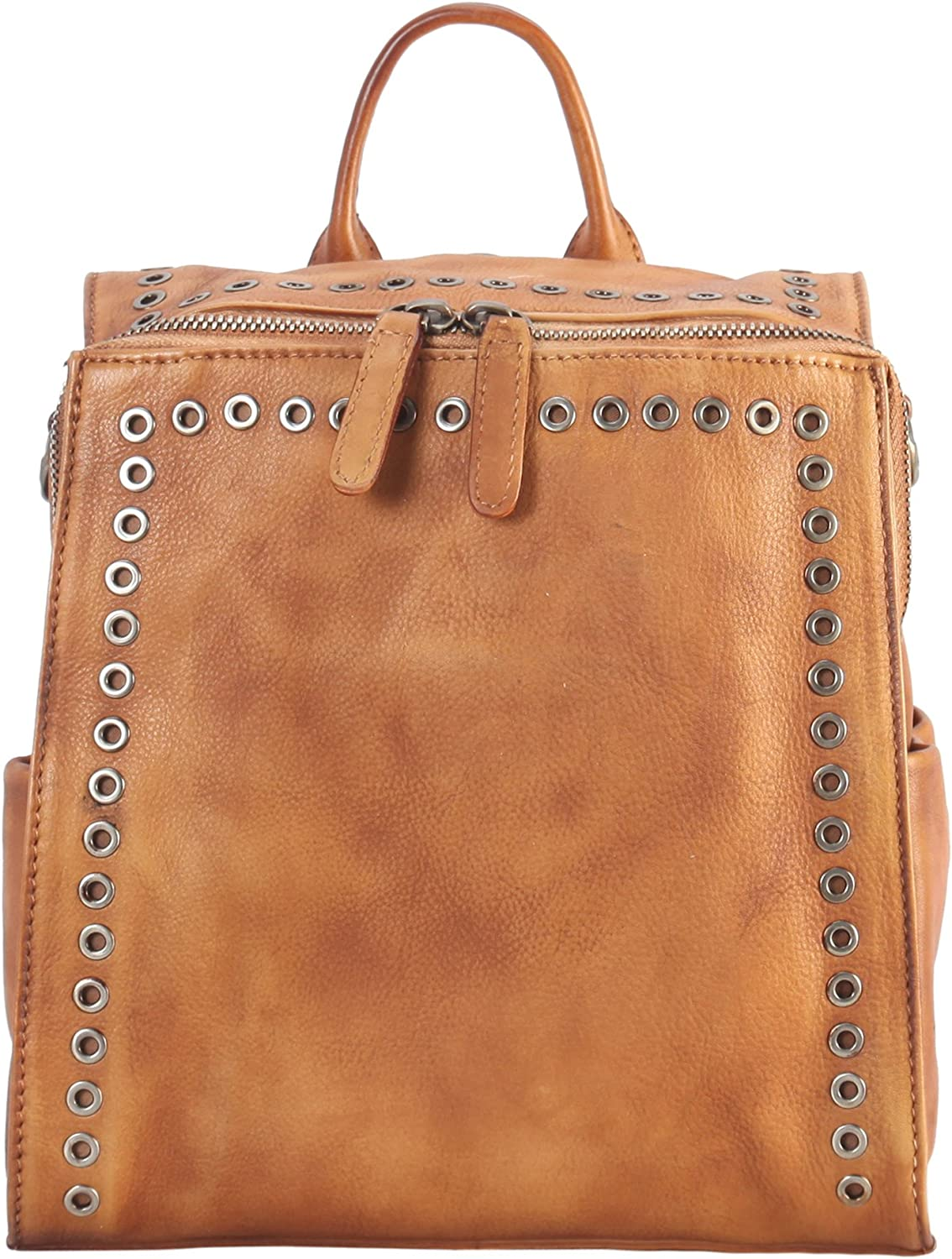Diophy Genuine Leather Circular Stud Edging Medium Two Ways Use Backpack 170672