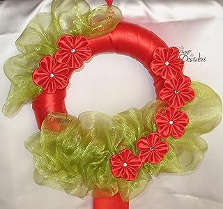 Ghirlanda Fuori Porta di Natale con fiori Kanzashi