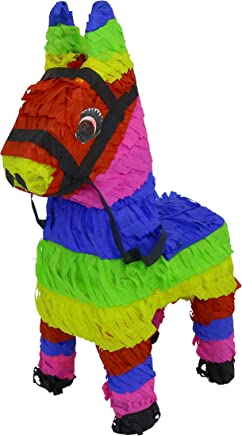 (3-Mini Burro) - LYTIO - 3-Pack Multicoloured Mexican Mini Burro Donkey Shaped Pinata (Pinata) Ideal and Fun for Parties, Mexican or Animal Themed Celebrations