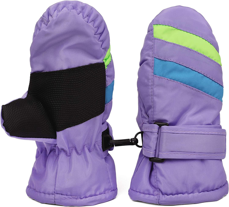 Zeltauto Kids Waterproof Ski Snow Gloves Winter Mittens Hook /& Loop Cuff for 2-6 Years Old