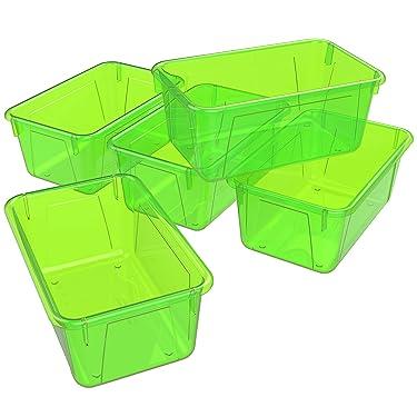 Storex Small Cubby Bin, 12.2 x 7.8 x 5.1 Inches, Candy Green, 5-Pack (62477U05C)