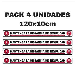 Pack 4 pegatinas para suelo, mantenga distancia de seguridad, separador clientes [120X10cm] vinilo con laminado antideslizante y anti desgaste