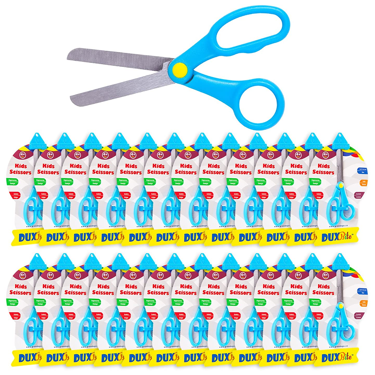 DUXBITE Kids School Safety 5.5 Inch Scissors | Bulk Pack of 24- Blunt Tip and Safe Blade Angle – Large Finger Loops for Comfort & Control – Perfect for Crafts, Cutting Paper & Classroom Use – Ages 4 +