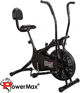 Powermax Fitness BU-205 Exercise Cycle for Weight Loss at Home   Air Bike with back support and moving handles