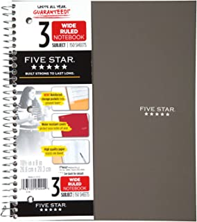 """Five Star Spiral Notebook, 3 Subject, Wide Ruled Paper, 150 Sheets, 10-1/2"""" x 8"""" Sheet Size, Gray (73188)"""