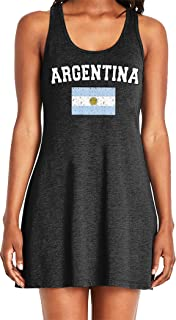 Amdesco Ladies Flag of Argentina, Argentine Flag Casual Racerback Tank Dress