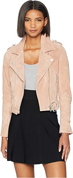Blush Pink Suede Moto Jacket in Candy Crush