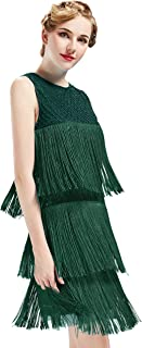 1920s Flapper Dress Long Fringe Gatsby Dress Roaring 20s Sequins Beaded Dress Vintage Art Deco Dress