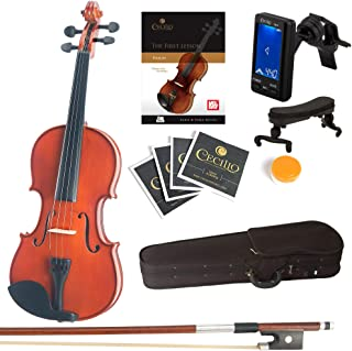 Mendini Full Size 4/4 Solid Wood Violin with Tuner, Lesson Book, Extra Strings, Shoulder Rest, Bow and Case, Natural Varni...
