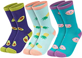 Womens Novelty Socks - Food Themed Socks - Funny, Patterned, Casual, Colorful, Silly, Cool Socks - Fits Womens Shoe Size 6-9