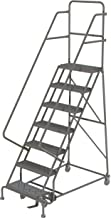 Tri-Arc KDSR107162 7-Step Steel Rolling Industrial and Warehouse Ladder with Handrails and 16