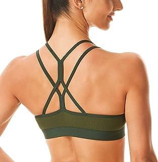 Rocorose Sports Bra for Women Sexy Crisscross Back Padded Strappy Longline Wirefree Running Workout Fitness Yoga Bra Top