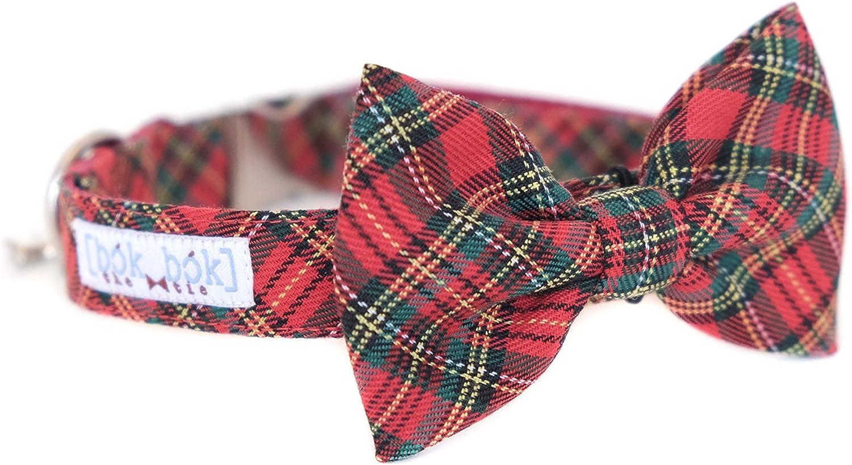 Red green striped dog bowtie