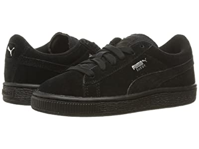 PUMA Kids Suede PS (Little Kid/Big Kid) (Puma Black/Puma Silver) Boys Shoes
