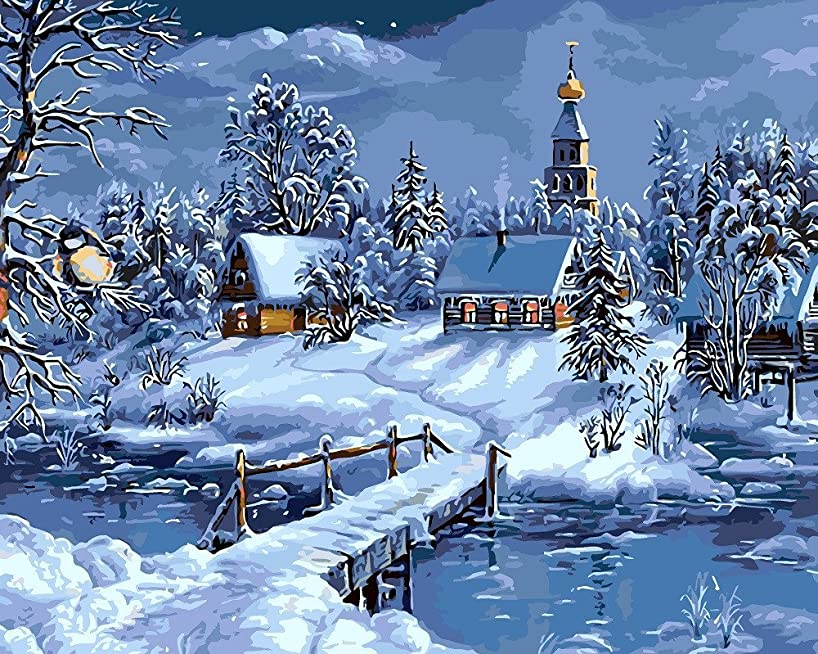 DIY Oil Painting Paint by Number Kit for Kids Adults Beginner 16x20 inch - Snow Night, Drawing with Brushes Christmas Decor Decorations Gifts (Frame)