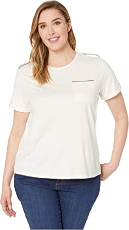 Plus Size Cotton-Blend Pocket Tee