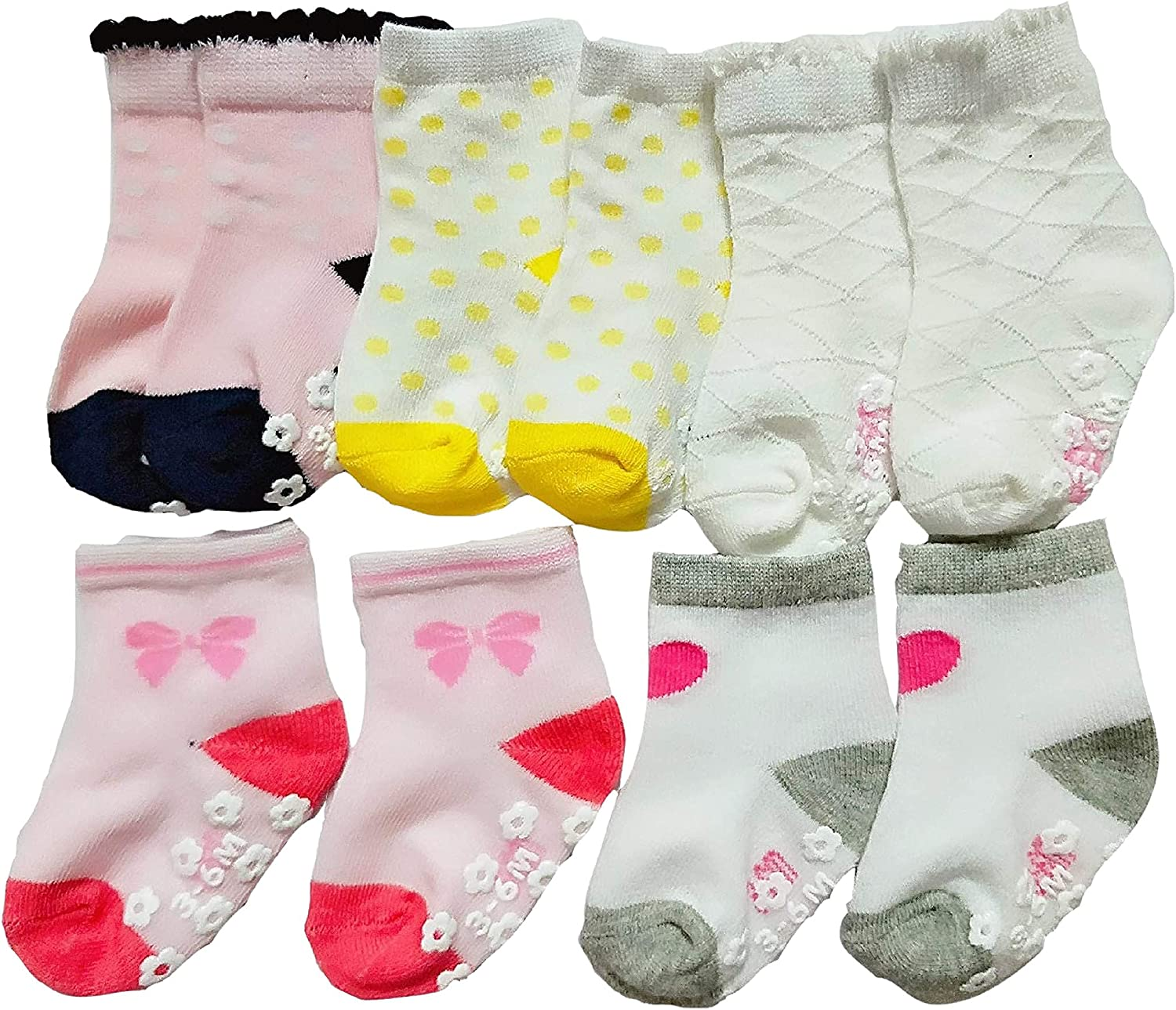 Baby Socks 5 Pack with Non-Slip (6-12 Months, girls)