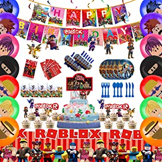 143 pcs Roblox Party Supplies for Kid's Theme Birthday, Roblox Birthday Party Decorations for Children Carnival Family Rob...