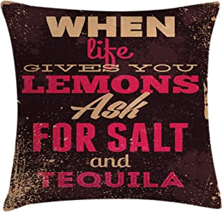 Ambesonne Vintage Decor Throw Pillow Cushion Cover by, When Life Gives You Lemons Tequila Motivational Quote Yin Yang Grunge Image, Decorative Square Accent Pillow Case, 18 X 18 Inches, Brown Pink
