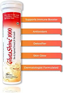 GlutaShine1000 2 in 1 Dermatologist Formulated L-Glutathione 500 mg + Vitamin C 1000 mg 30 Sugar Free Tablets (Orange Flavour Drink) Antioxidant, Supports Immune Booster, Detoxifier, Skin Lightning