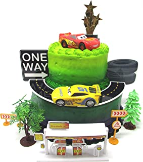 Cars 3 Birthday Cake Topper Set Featuring Lightning McQueen and Cruz Ramirez Figures with Decorative Themed Accessories