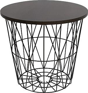 ironet サイドテーブル おしゃれ バスケット ベッドサイド テーブル 高さ40cm アイアン 蓋付きランドリーバスケット 収納 かご インテリア 収納 家具 雑貨 ((S)ブラック×ダークブラウン)