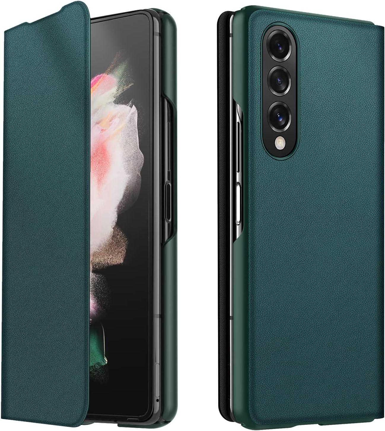 CENMASO Designed for Samsung Galaxy Z fold 3 Case, Ultra-Thin Leather Magnetic Flip Bumper Case for Galaxy z Fold 3 (2021)- Green