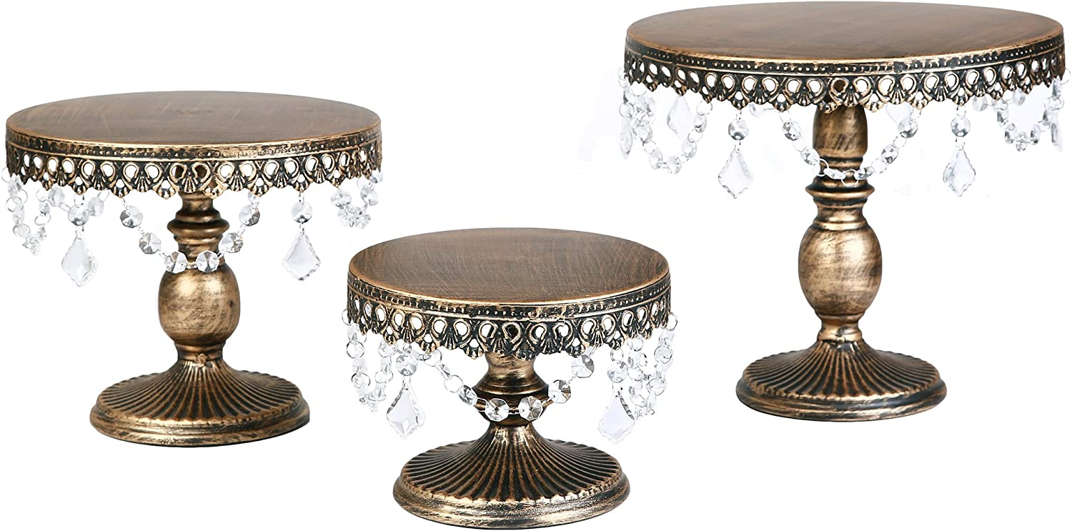 VILAVITA 3-Set Antique Round Cake Stands Cupcake Stand Dessert Display with Pendants and Beads, Antique gold
