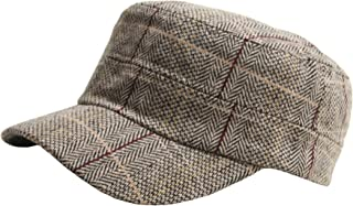 A115 Wool Herringbone Royal Check Pattern Style Club Army Cap Cadet Military Hat